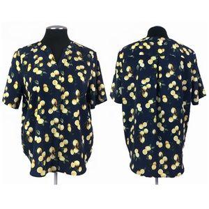 Jasmine & Juliana - Lemon Print Navy V-Neck Pullover Top